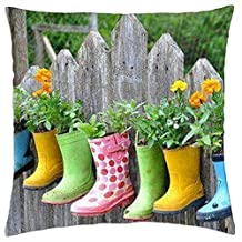 Colorful Rainboot Flower Pots - Throw Pillow Cover Case (18