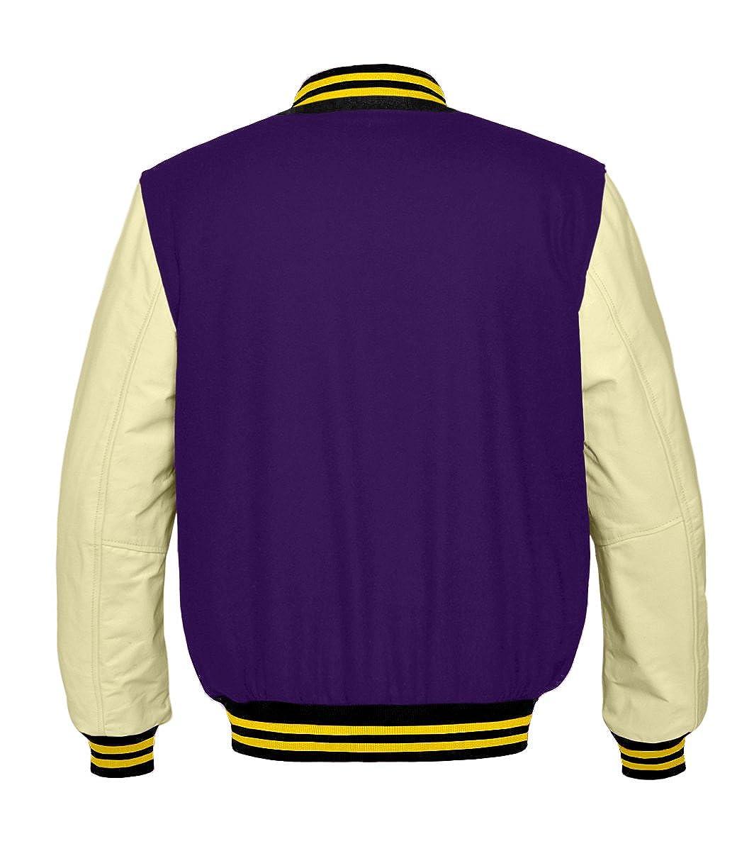 luvsecretlingerie Original American Varsity Real Cream Leather Letterman College Baseball Kid Wool Jackets #C-Y-C