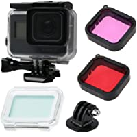 Gopro Hero (2018)/7 Black/6/5 Accessories with Underwater Waterproof Housing Case and GoPro Filter (Red + Purple)