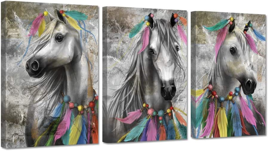 ZingArts 3 Pieces Vintage Animal Canvas Wall Art Horse with Colorful Indian Feather Decoration Native American Picture Painting on Canvas For Modern Home Bedroom Stretched and Framed Ready To Hang