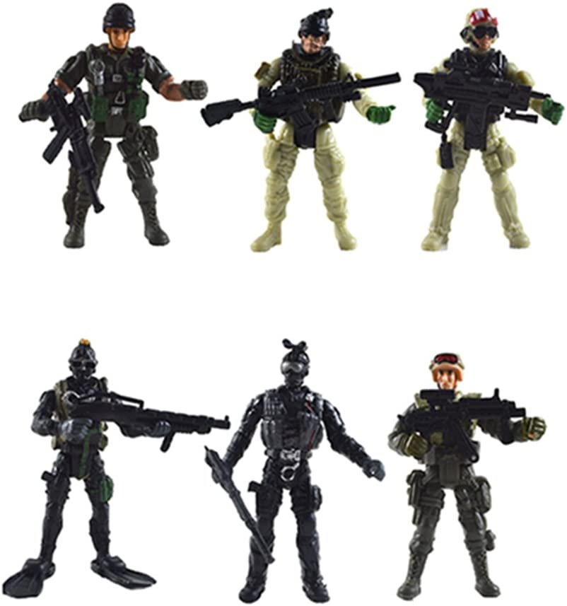 6PCS Military Jointed Soldiers Actions Figures w//Weapons Model Kits Kids Toy