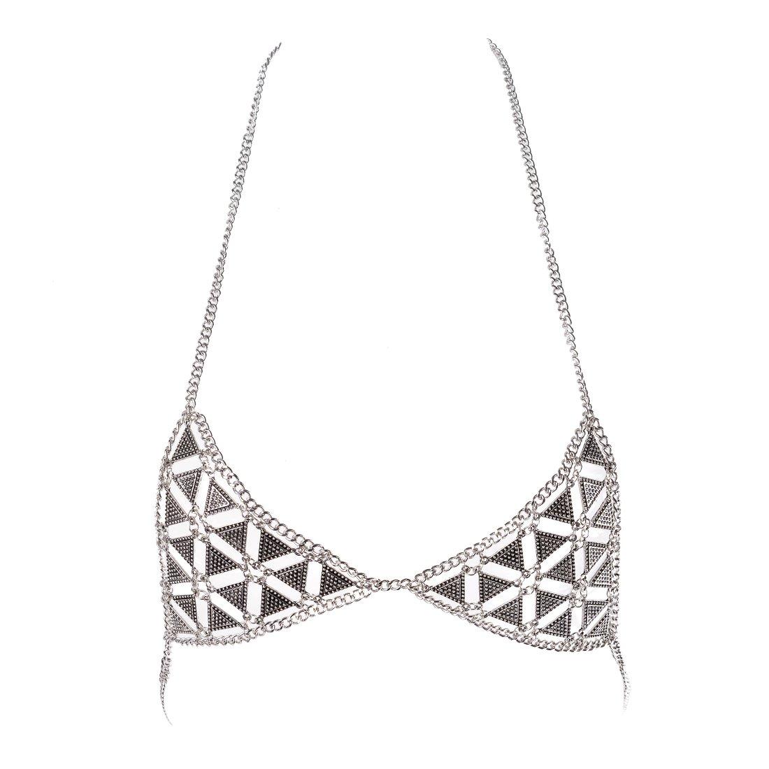 77597e1a1fb301 Amazon.com  MJartoria Silver Color Retro Beach Harness Triangle Bikini Bra  Statement Body Chain Jewelry for Women  Jewelry