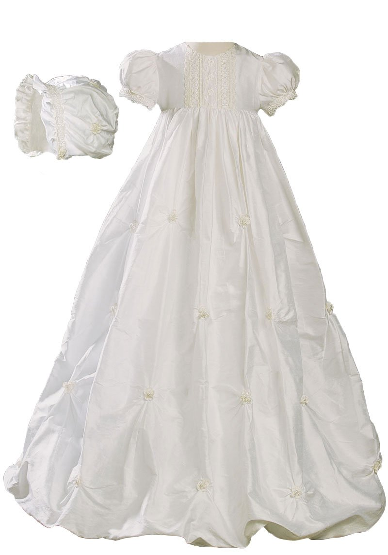 Little Things Mean A Lot 100% Silk Girls Bubble Dress Christening Gown Baptism Gown with Natural Venise Lace 18M