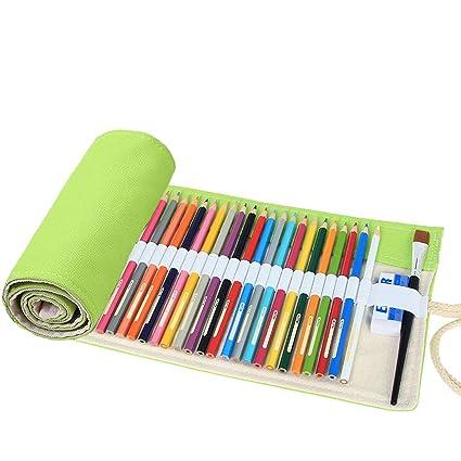 abaría Bolso para Lápices, Estuche Enrollable para 72 lapices Colores, Portalápices de Lona, Bolsa Organizador Lápices para Infantil Adulto, Verde 72 ...