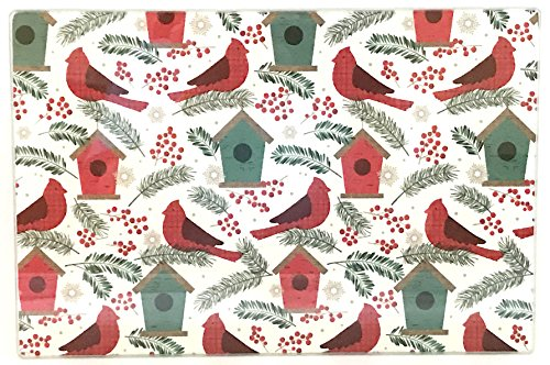 Christmas Holiday Glass Cutting Board: Country Cardinals and Birdhouse Design, 11.75
