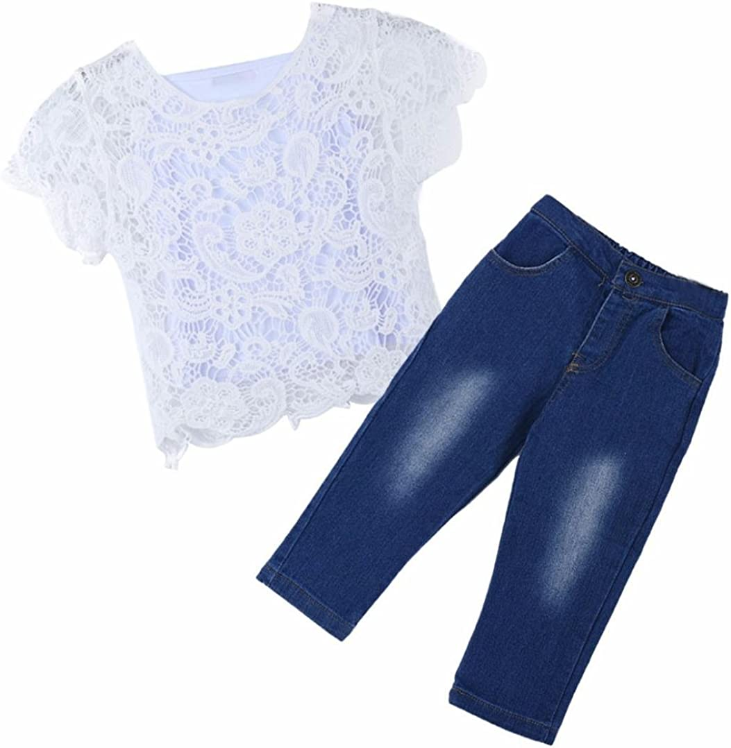 Clode for 1-8 Years Old Boys Kids Baby Girls Outfit White Lace Tshirts,Vest and Denim Pants 3 Pieces Fall Clothes Set