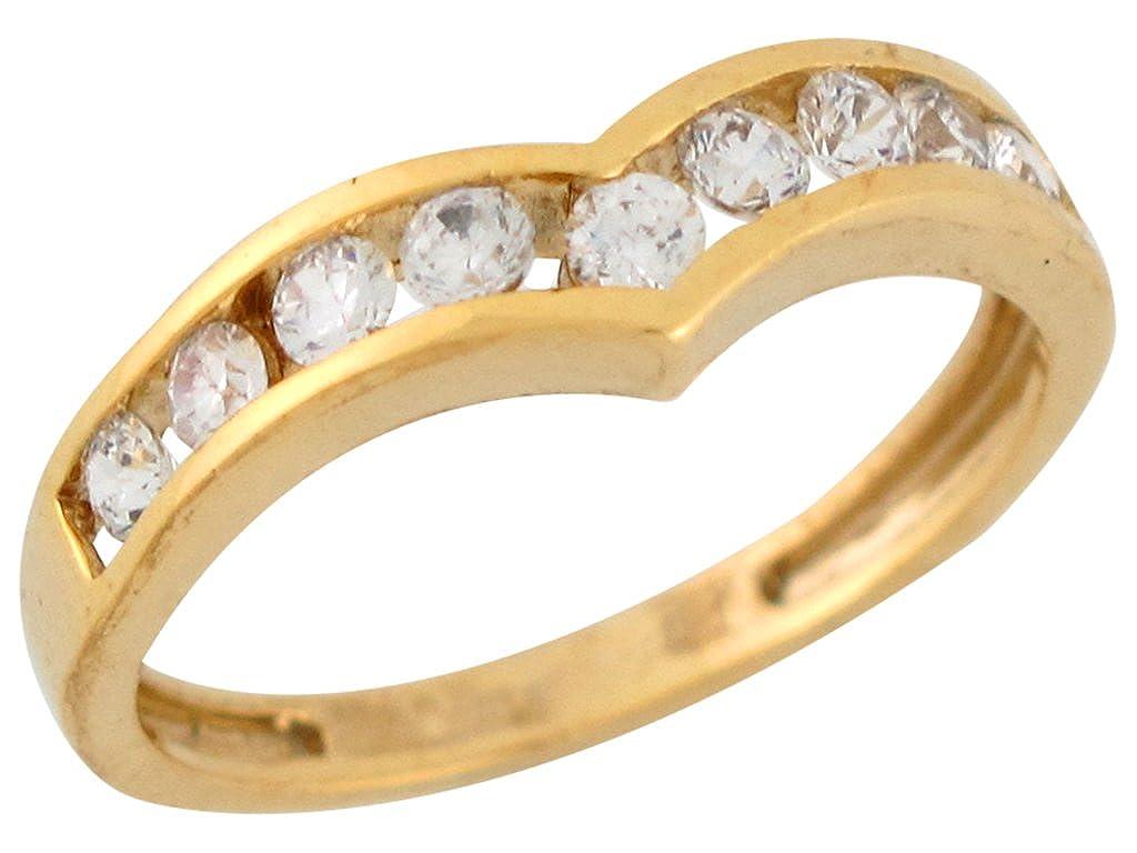 10k Yellow Gold Nine-stone Round Cut White CZ V-shaped Ladies Anniversary Ring