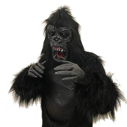 Uus Disfraz de Animal de Halloween, máscara de Peluca de Terror Disfraz de Gorila cos