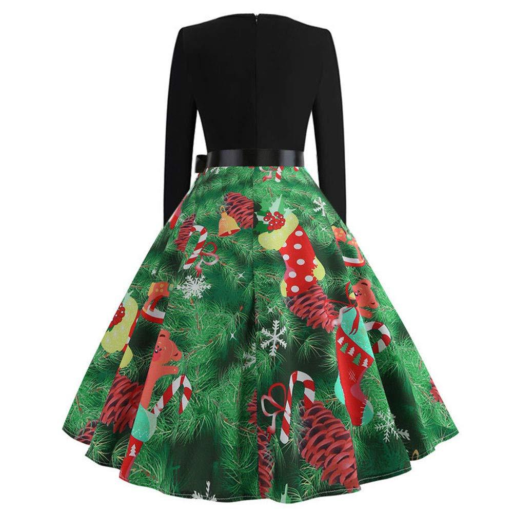 FOTBIMK Robe Soir/ée Vintage Robe De No/ël /À Manches Longues pour Femmes Robe Trap/èze Imprim/ée /À Manches Longues pour Femmes