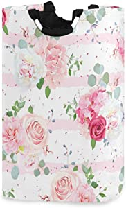 SUABO Laundry Basket Pink Rose Flowers Laundry Hamper Portable Foldable Clothes Organizer with Handles Storage Bag for Kids Room Bathroom