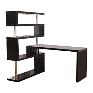 office corner desk. homcom rotating home office corner desk and shelf combo black