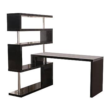 Amazoncom HomCom Rotating Home Office Corner Desk and Shelf