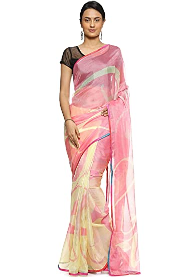 c46bb9b3074dbd Soch Pink Printed Fancy Georgette Saree  Amazon.in  Clothing   Accessories