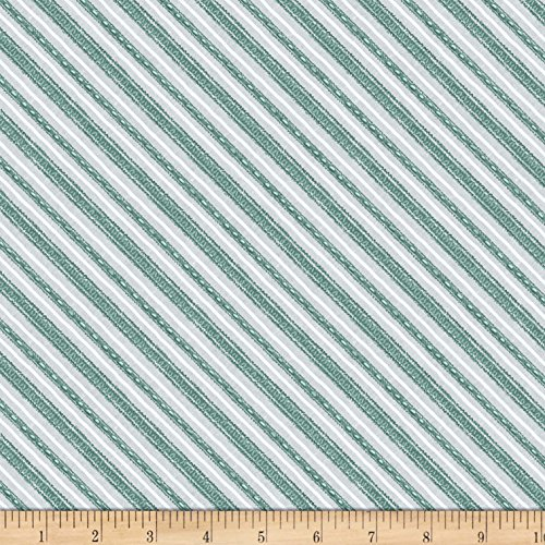 (Wilmington Prints Friendly Gathering Diagonal Stripe Gray/Teal Fabric by The Yard)