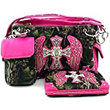 Camo Western Angel Wings Cross Purse w/ Concealed Weapon Pocket & Flat Wallet Matching Set (Hot Pink)