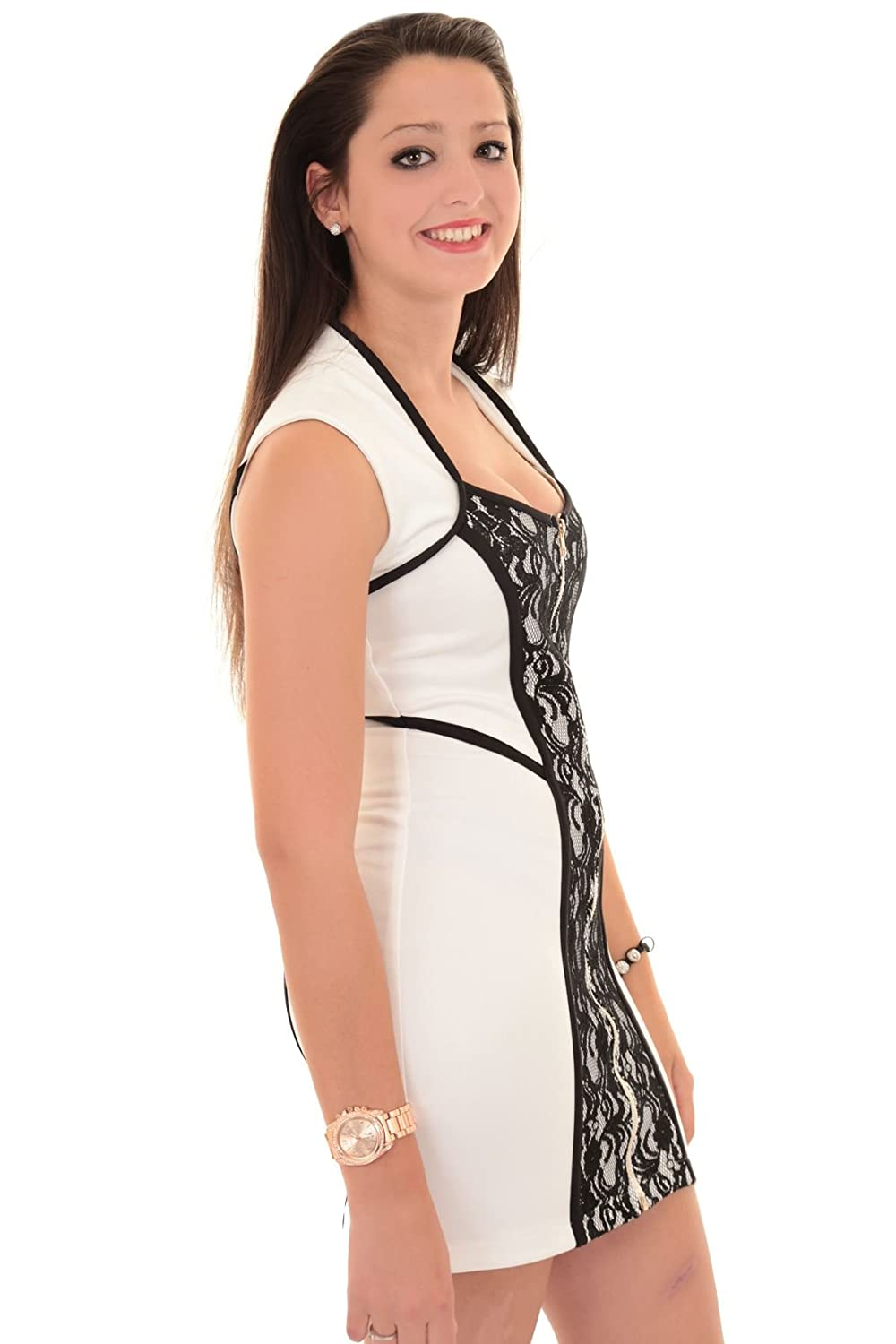 FANTASIA BOUTIQUE ? Ladies Sleeveless Front Zip Floral Lace Panel Contrast Smart Short Bodycon Dress