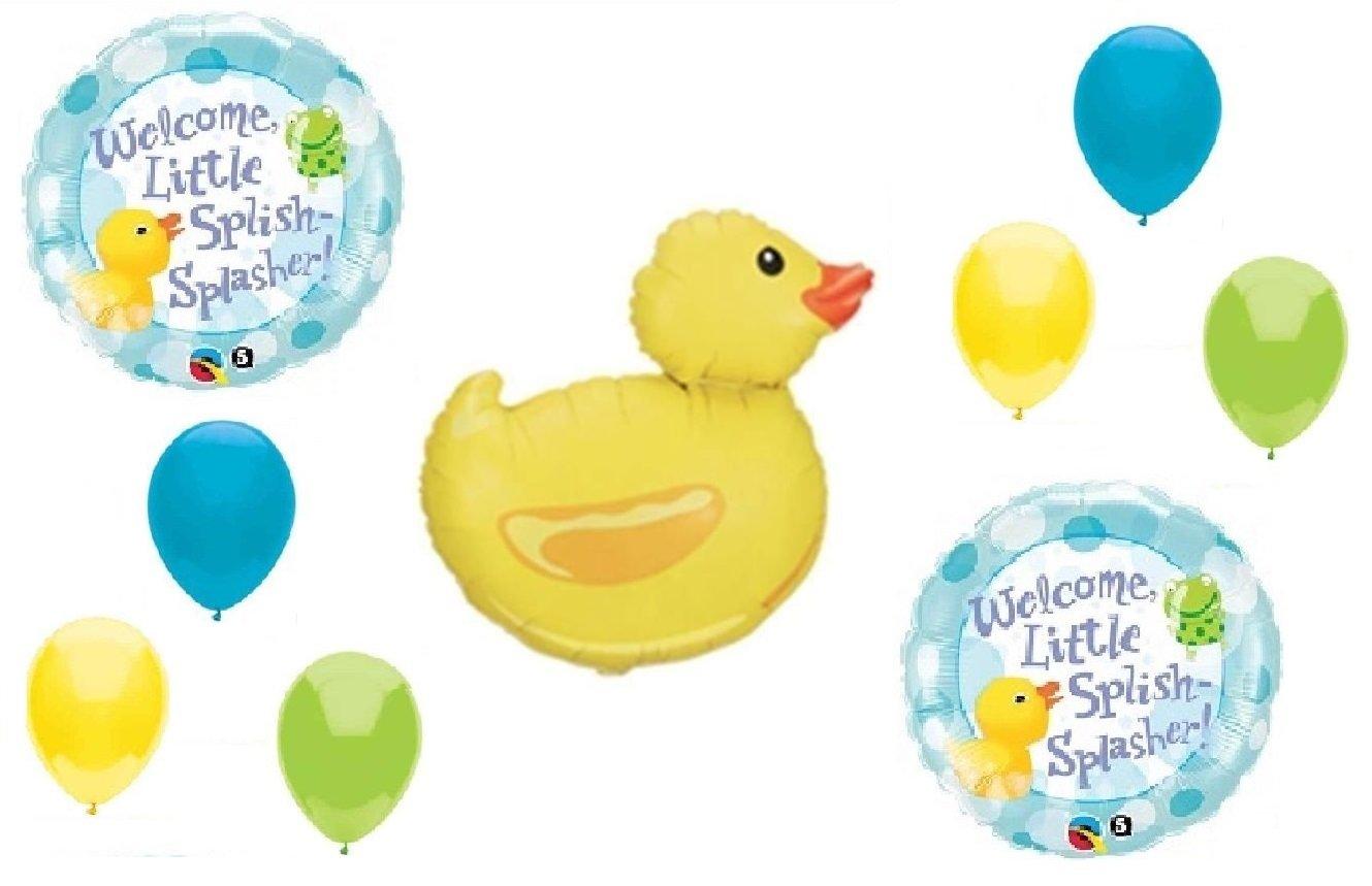 Yellow Duck Rubber Ducky SplishスプラッシュSplasher 9 Pieceイエロー、ライムグリーン、ブルー赤ちゃんシャワーMylarとラテックスballoons- Plusリボン無料!   B01M4ON4CT