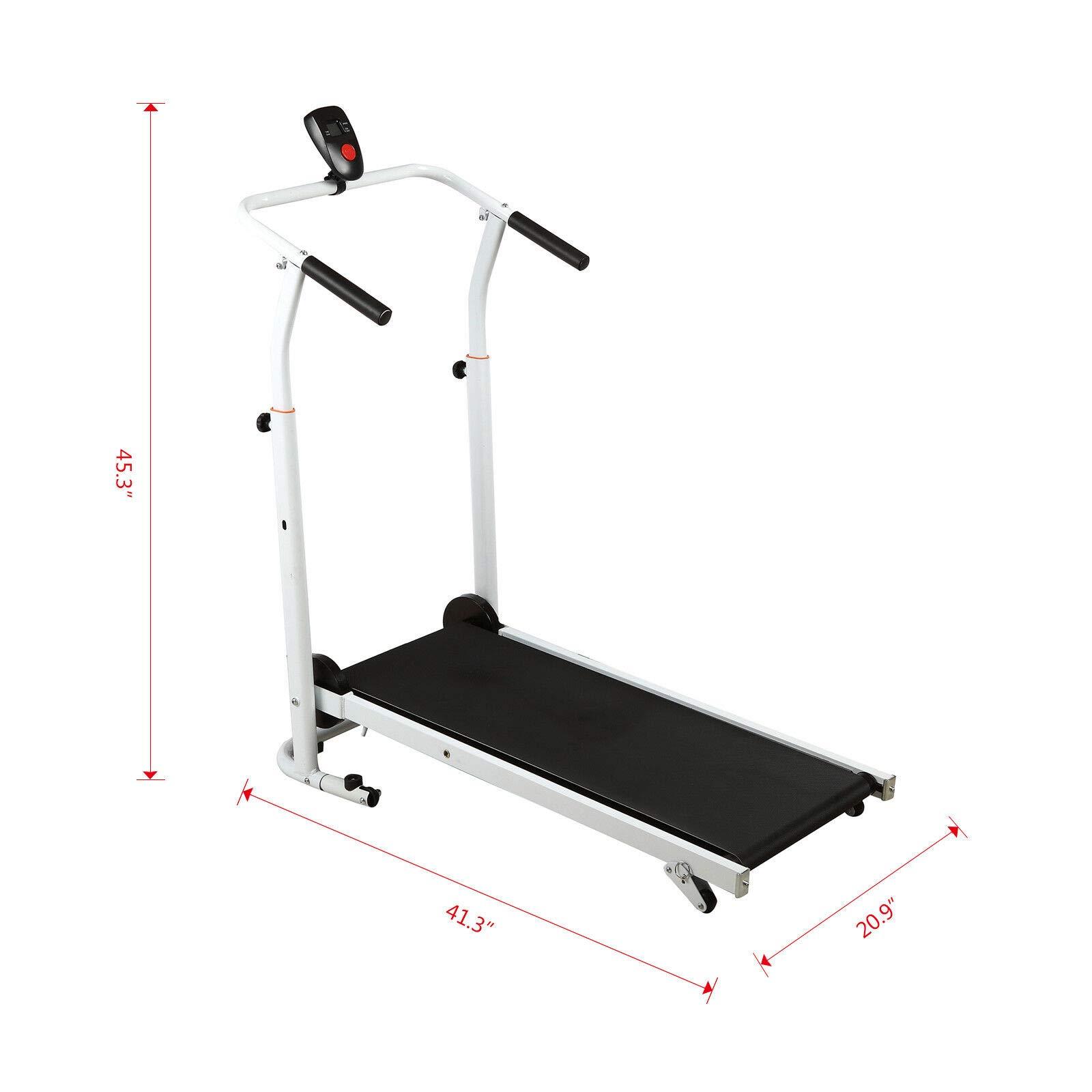 HappyShopShop Folding Adjustable Manual Treadmill Run Running Walk Walking Machine Cardio Exercise by HappyShopShop (Image #2)