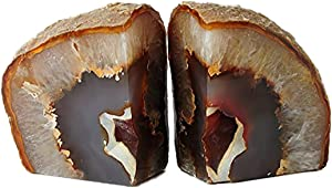 JIC Gem 3 to 4 Lbs Natural Agate Bookends Decorative Polished 1 Pair with Rubber Bumpers for Office Décor and Home Decoration