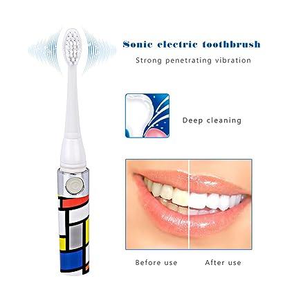 inkint Sonic vibración Cepillo de dientes eléctrico con dos Intercambio Baren cabezales de cepillo portátil agua