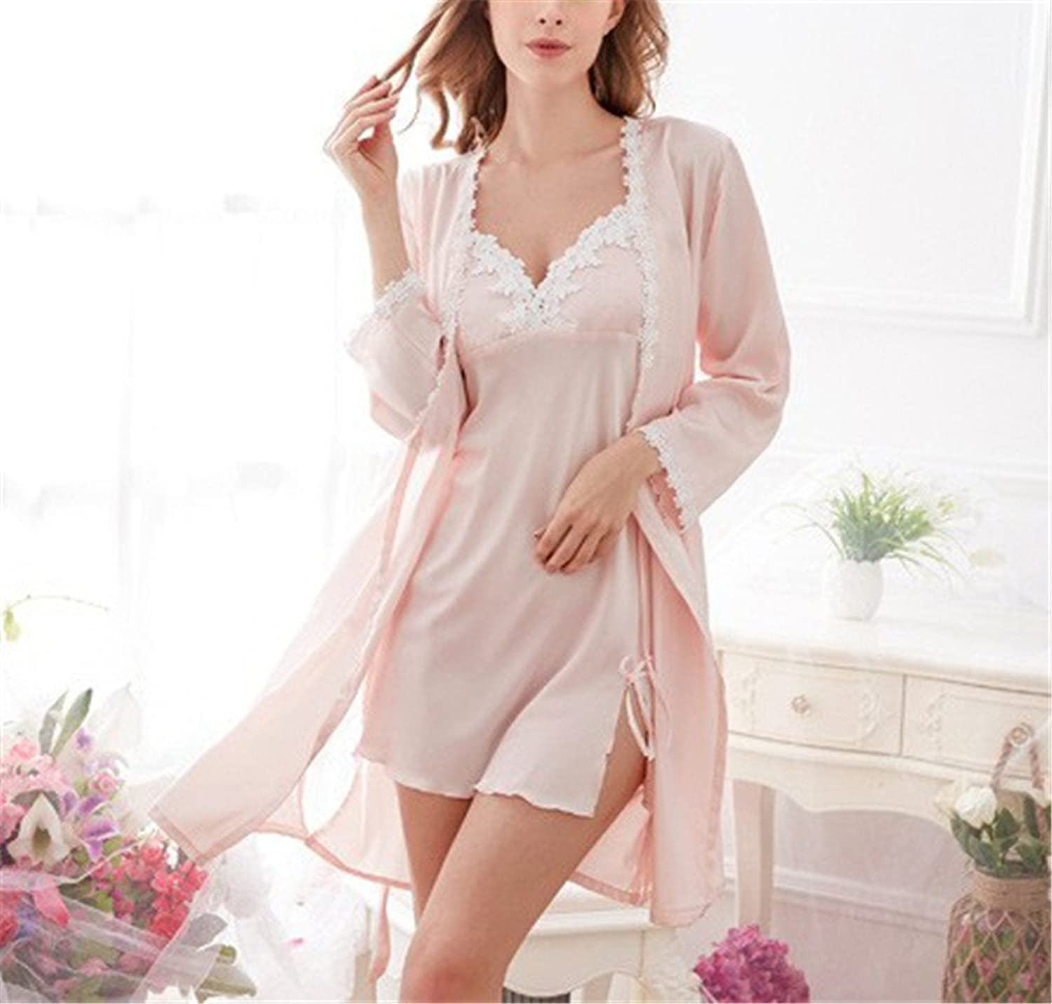 Autumn Sexy Womens Full Sleeve Robe & Gown Set Silk Satin Gecelik Robe Sexy Women Sleepwear Indoor Wear at Amazon Womens Clothing store: