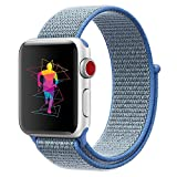 INTENY Sport Band for Apple Watch 42mm, Soft Lightweight Breathable Nylon Sport Loop Replacement Strap for iWatch Series 3, Series 2, Series 1, Hermes, Nike+, Edition (Tahoe blue, 42mm)