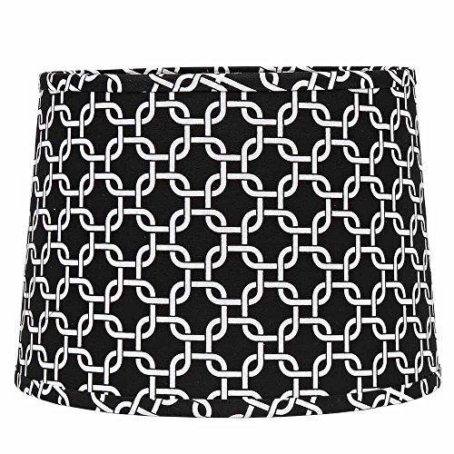 - Home Collection by Raghu 0D990011 Black & White Greek Key Regular Clip Drum Lampshade, 10