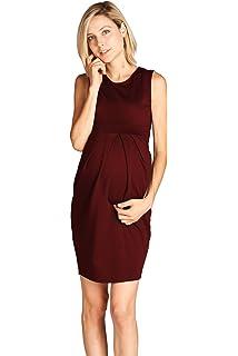 5ef6d89ec8a0 LaClef Women's Knee Length Front Pleated Sleeveless Midi Maternity Dress