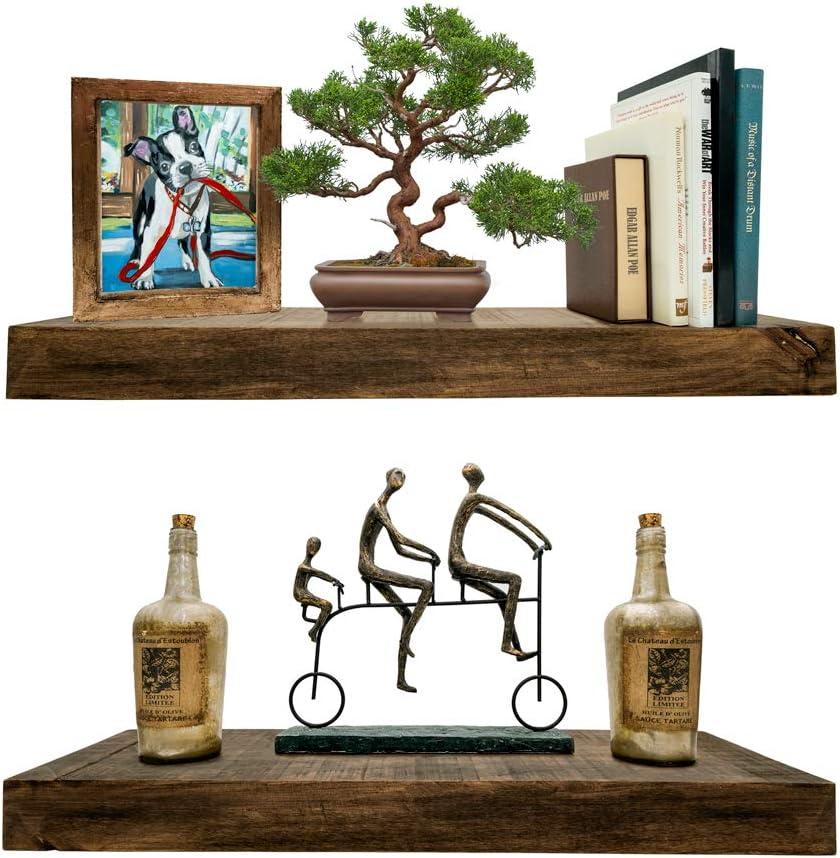 Rustic Floating Shelves (Solid Wood) - Natural Grain, Farmhouse Distressed, True Flush Hidden Brackets, Modern Barn Shelf, Livingroom, Kitchen, Bedroom, Bathroom. Set of 2 [Espresso Walnut, 24x6x2in]