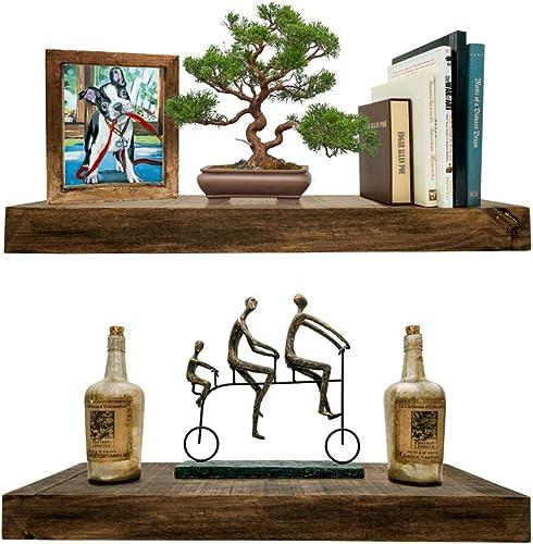 Darvish Saints Rustic Floating Shelves Solid Wood – Natural Grain, Farmhouse Distressed, True Flush Hidden Brackets, Modern Barn Shelf, Livingroom, Kitchen Set of 2, Espresso Walnut, 24x6x2in