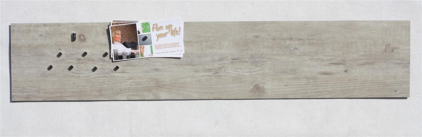 Magnet-Pinnwand in Holz-Optik  Eiche gebleicht, aus Vinyl mit Stahl-Rückseite, 100cm x 22,5cm