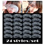 24 Styles Eyebrow Shaping Stencils, Eyebrow Grooming Stencil Kit, Reusable Makeup Design Shaping