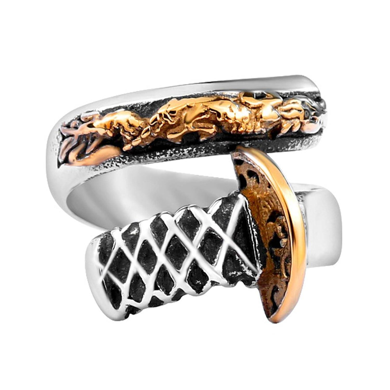JAJAFOOK Men's Vintage Punk Rock Dragon Sword Ring 24K Gold Plated Opening Ring Band,7-14#