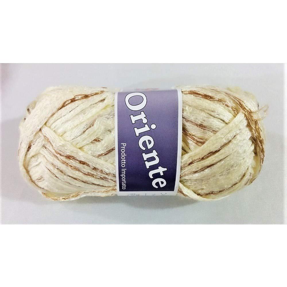 TOMASELLI MERCERIA Lana a Rete Oriente con Filo colorato Centrale Roby per Sciarpe o Maglie, Scialli gomitolo 100 Grammi - Panna
