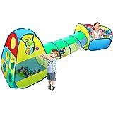 Tente de Jeu pour Enfants,VICIVIYA Maison et Tunnel Tente Kids Pop up Play Tente avec Tunnel et Ball Pit- 3 en 1 Jouets pour enfants +Sac de Rangement à Glissière