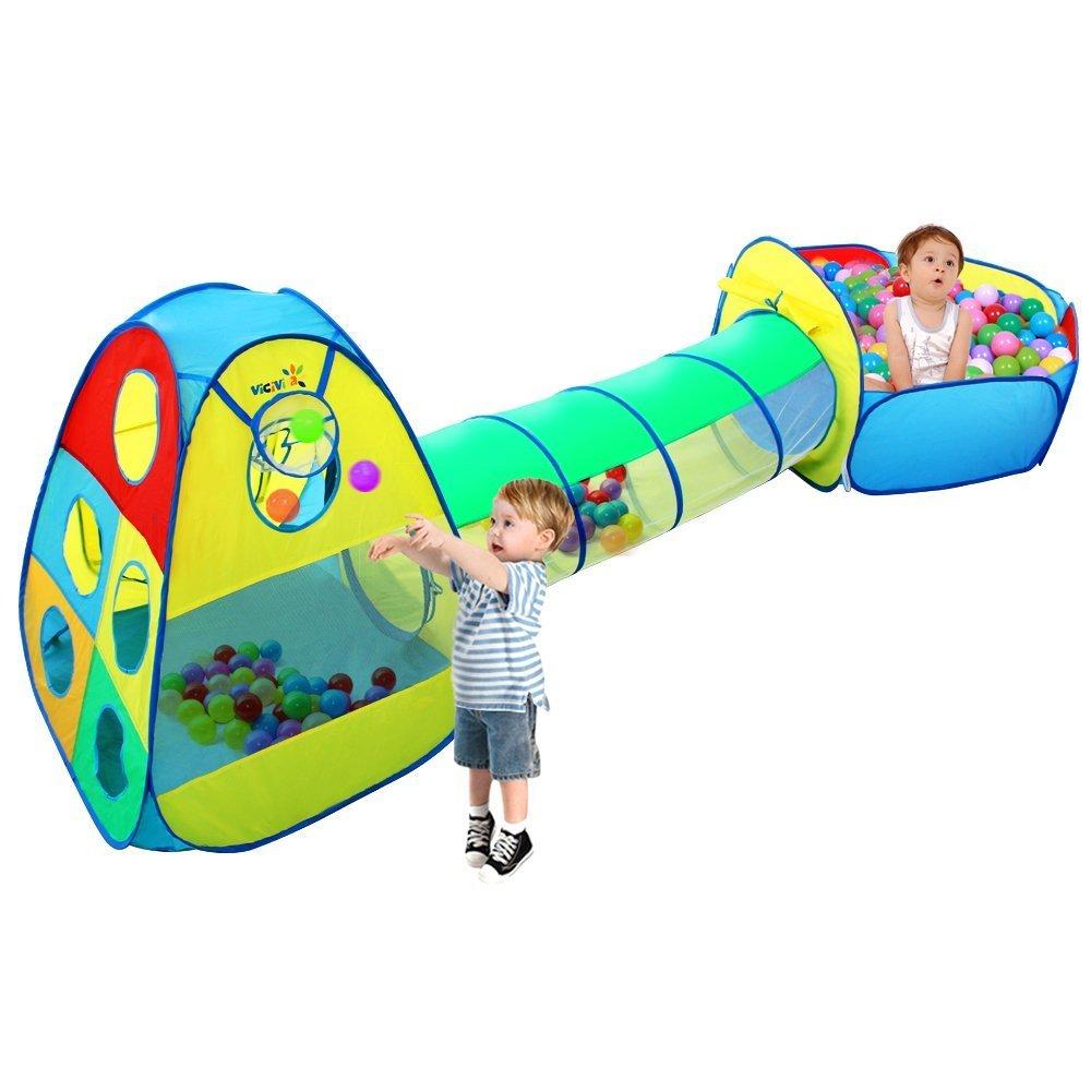 3 en 1 Jardín de Casa Tienda de Campaña Infantil ,VICIVIYA Carpa Niños Pop Up Casa de Juego Tiendas de Juegos para Niños con Túnel con Cuadro de Baloncesto Plegable Portátil(Bolas No