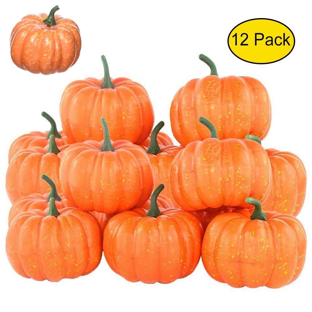 Rocutus 12 Pieces Mini Artificial Pumpkins,Lifelike Simulation Mini Pumpkins Fall Mini Artificial Pumpkins,Halloween Thanksgiving Autumn Theme Party Decorations Mini Pumpkins