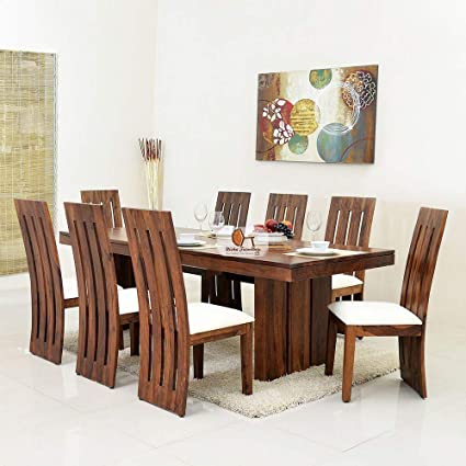 Nisha Furniture Sheesham Wooden Dining Table Set 8 Seater  1187333b67c8