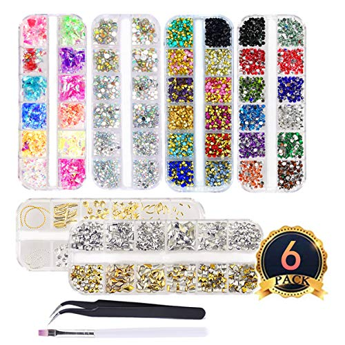(editTime 6 Boxes Shiny Colorful Nail Art Rhinestones Stone Silver & Gold 3D Metal Nail Studs Kit Nail Art Decorations with a Curved Tweezer and a Nail Brush )