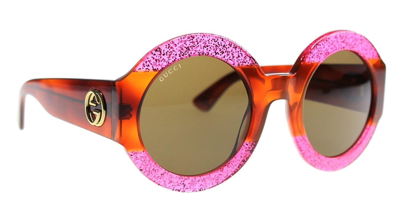 d301276a5f181 Amazon.com  Gucci 0084 0084S 003 Fuchsia Havana Brown Glitter Sunglasses   Clothing