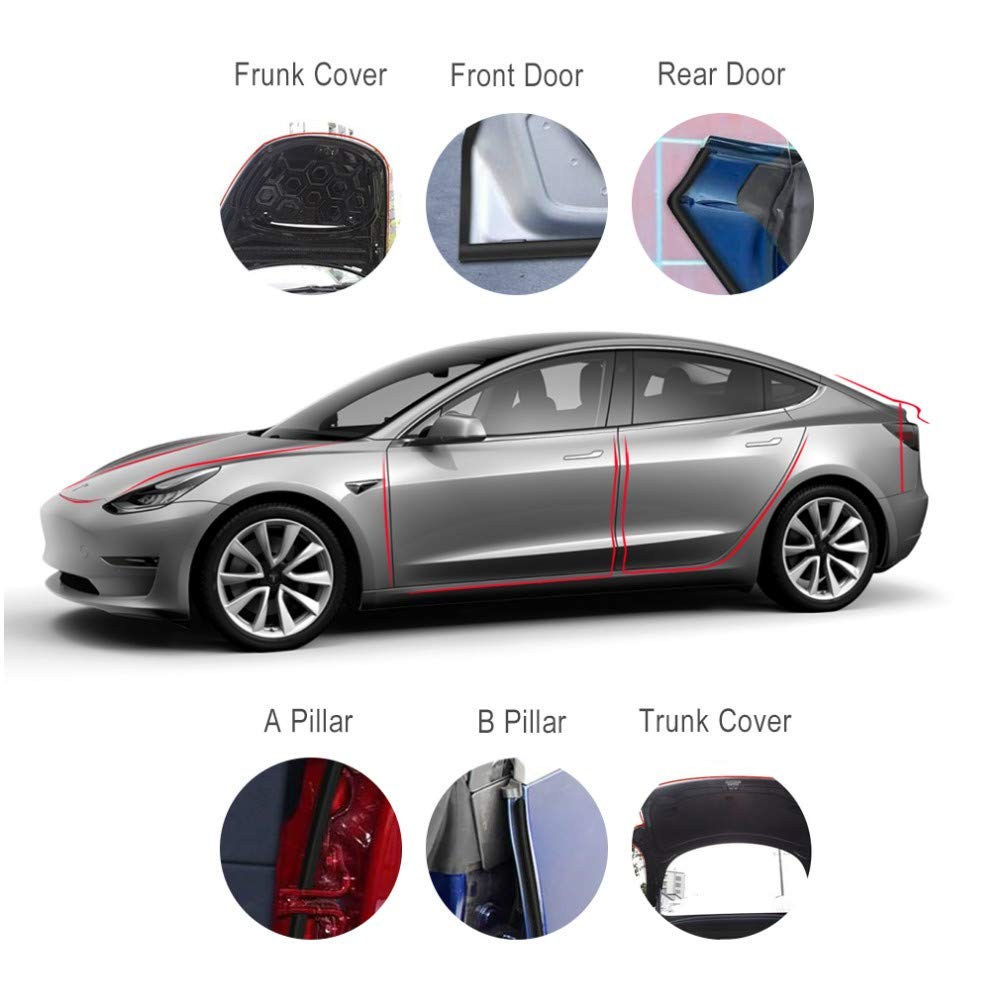 Rui Xin 213 Car Door Seal Kit Weather Stripping for Tesla Model 3 Soundproof Rubber Weather Draft Seal Strip Wind Noise Reduction Set