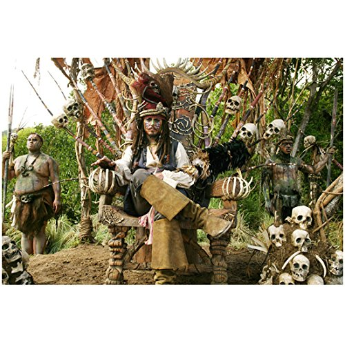 Pirates of the Carribean Johnny Depp as Cannibal Jack sitting on his Throne 8 x 10 Photo (Caribbean Cannibal Jack)