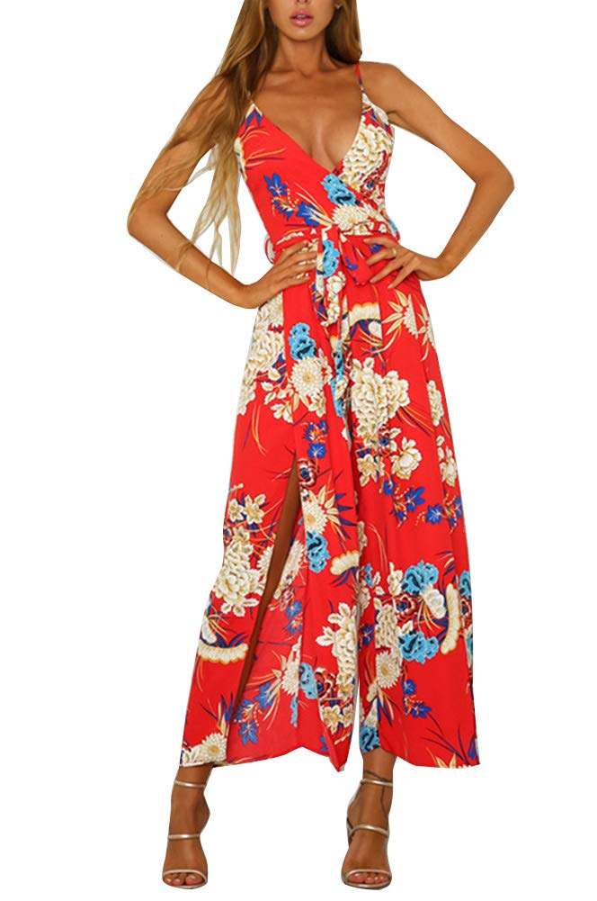 Ophestin Womens Jumpsuits Long Pants - Casual Comfy Rompers with Pockets Sleeveless Red