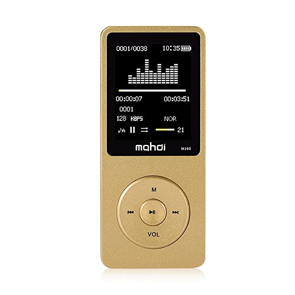 MYMAHDI 8GB Portable MP4 Player MP3 Player Video Player Support TF Card Photo Viewer E-Book Reader Voice Recorder Gold