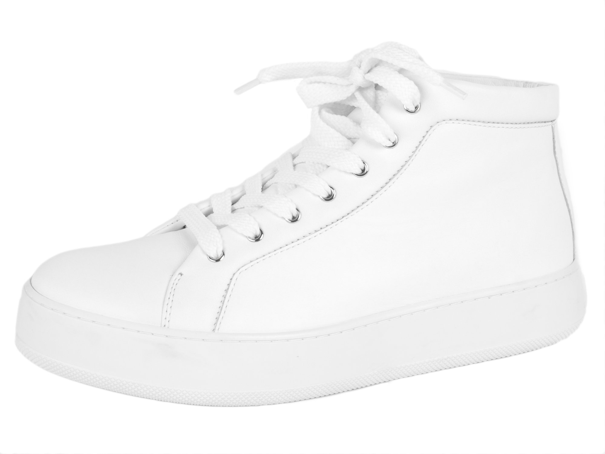 MaxMara Women's MM48 Leather High Top Sneakers US 8.5/IT 38.5 White