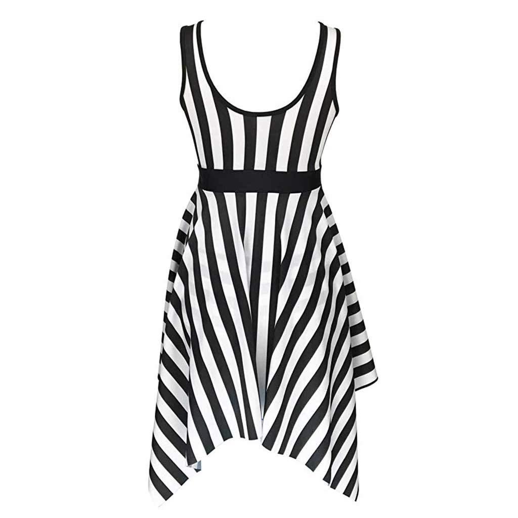 Womens Stripe Bikini Set, Lady Hight Waist Swimdress Swimming Push Up Summer Swimsuit (XXL, Black)