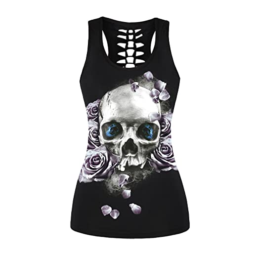 3c3d54954b508d DDSOL Women Skull Rose Print T-Shirt Sleeveless Crew Neck Hollow Out 3D  Pattern Tank