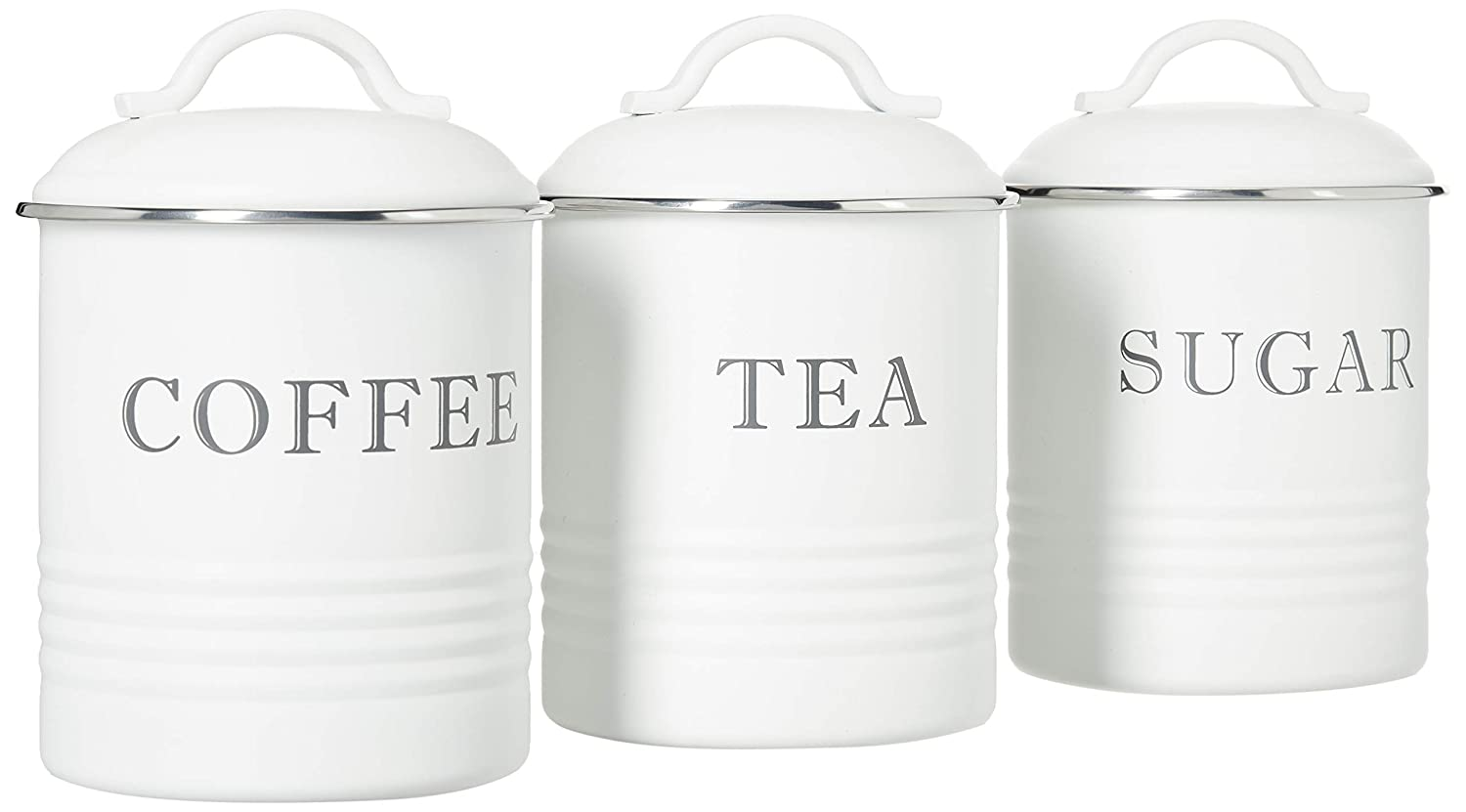Set of 3 Barnyard Designs Decorative Kitchen Canisters with Lids White Metal Rustic Vintage Farmhouse Country Decor for Sugar Coffee Tea Storage
