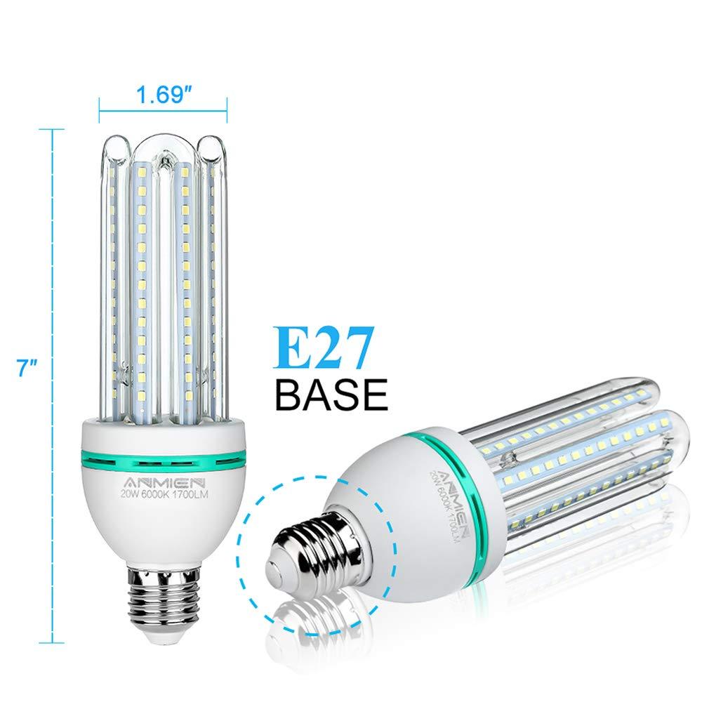Bombillas LED E27, 20W equivalente de 150 vatios,Luz blanca fría 6000K, 360 ° ángulo de luz,no regulable,1700 lúmenes LED maíz luz bombilla,ahorro de ...