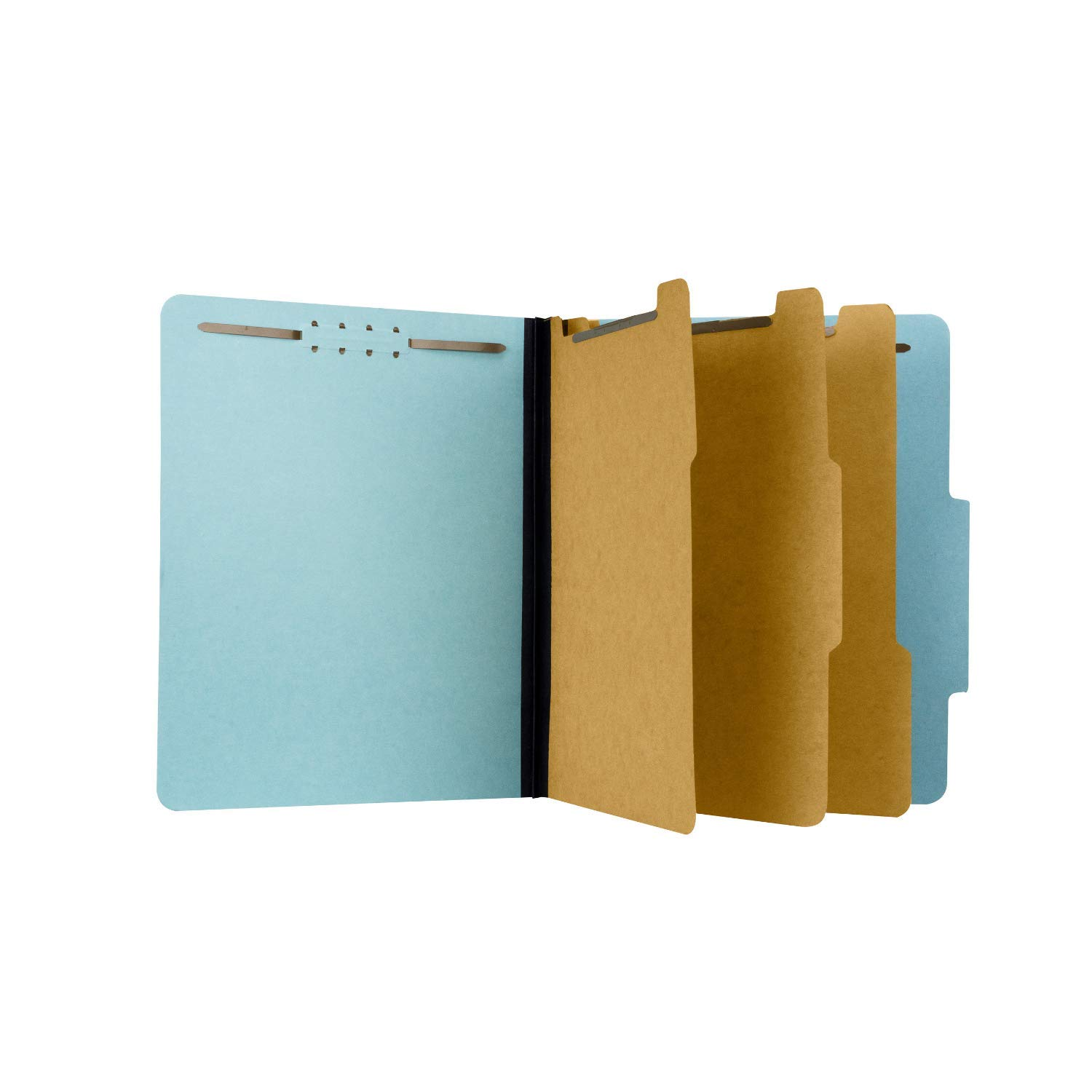 Pressboard Classification File Folder with 3 dividers and Fasteners, Letter Size, Blue, 2'' Expansion, Box 10